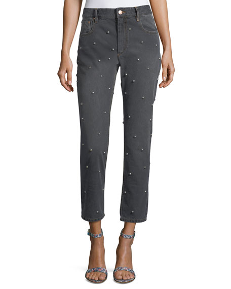 Califfy Studded High-Rise Denim Jeans