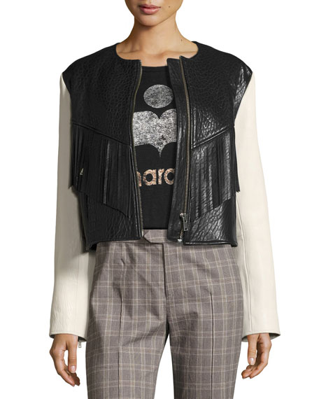 Etoile Isabel Marant Kirk Two-Tone Fringed Leather Jacket,