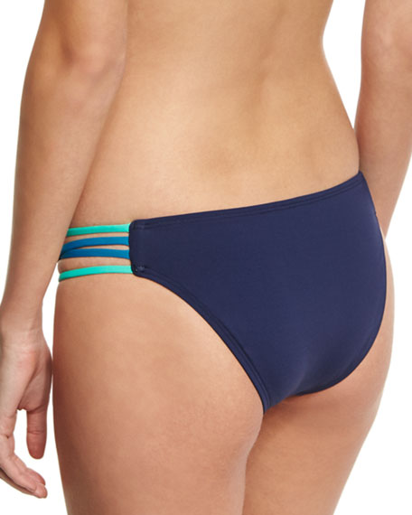 Low-Down Reversible Swim Bikini Bottom, Blue/Turquoise