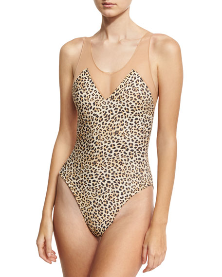 Norma Kamali Mio Racer Mesh One-Piece Swimsuit, Leopard