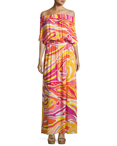 Lance Printed Off-the-Shoulder Maxi Dress