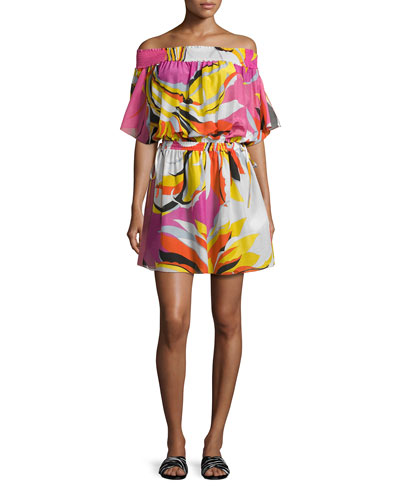 Fiore Maya Printed Off-the-Shoulder Coverup Dress, Pink/Yellow/White