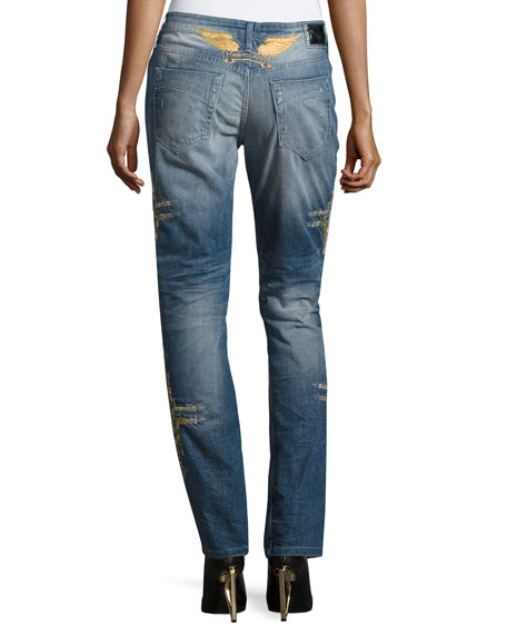 Distressed Boyfriend Denim Jeans, Indigo