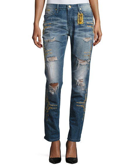 Robin's Jeans Distressed Boyfriend Denim Jeans, Indigo