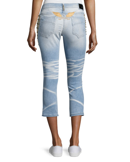 Marilyn Studded Destroyed Capri Jeans, Light Blue