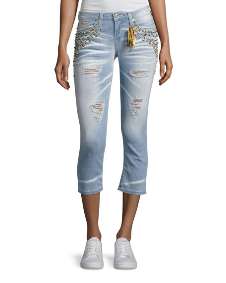 Robin's Jeans Marilyn Studded Destroyed Capri Jeans, Light