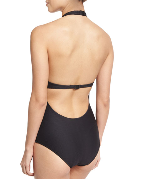 Heather Choker Solid One-Piece Swimsuit, Black