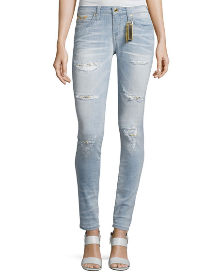 Robin's Jeans Marilyn Distressed Studded Denim Jeans, Light