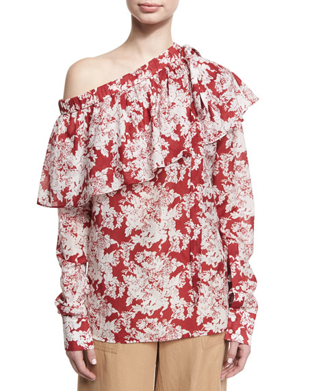 Floral-Print One-Shoulder Ruffle Top, Crimson