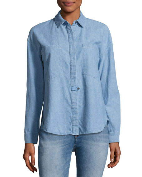 Derek Lam 10 Crosby Hidden Placket Chambray Shirt,