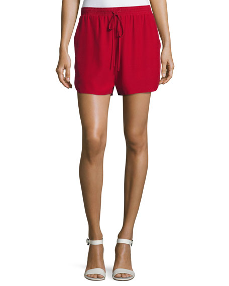 Robert Rodriguez Relaxed Low-Rise Drawstring Silk Shorts, Crimson