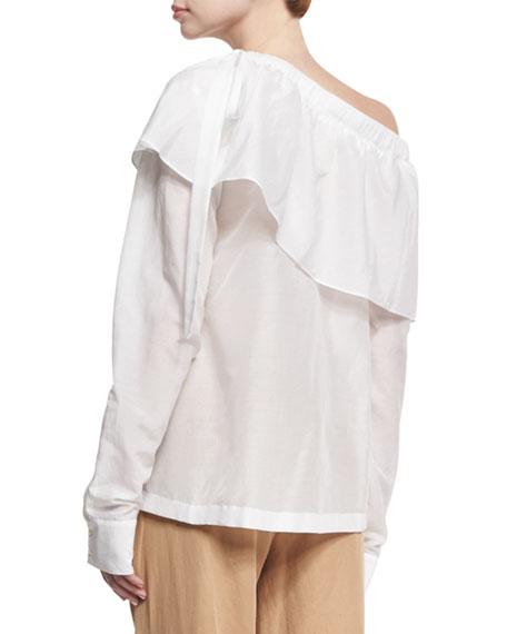 Cotton-Silk One-Shoulder Ruffle Top, White