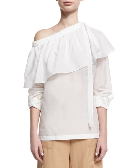 Cotton-Silk One-Shoulder Ruffle Top, White
