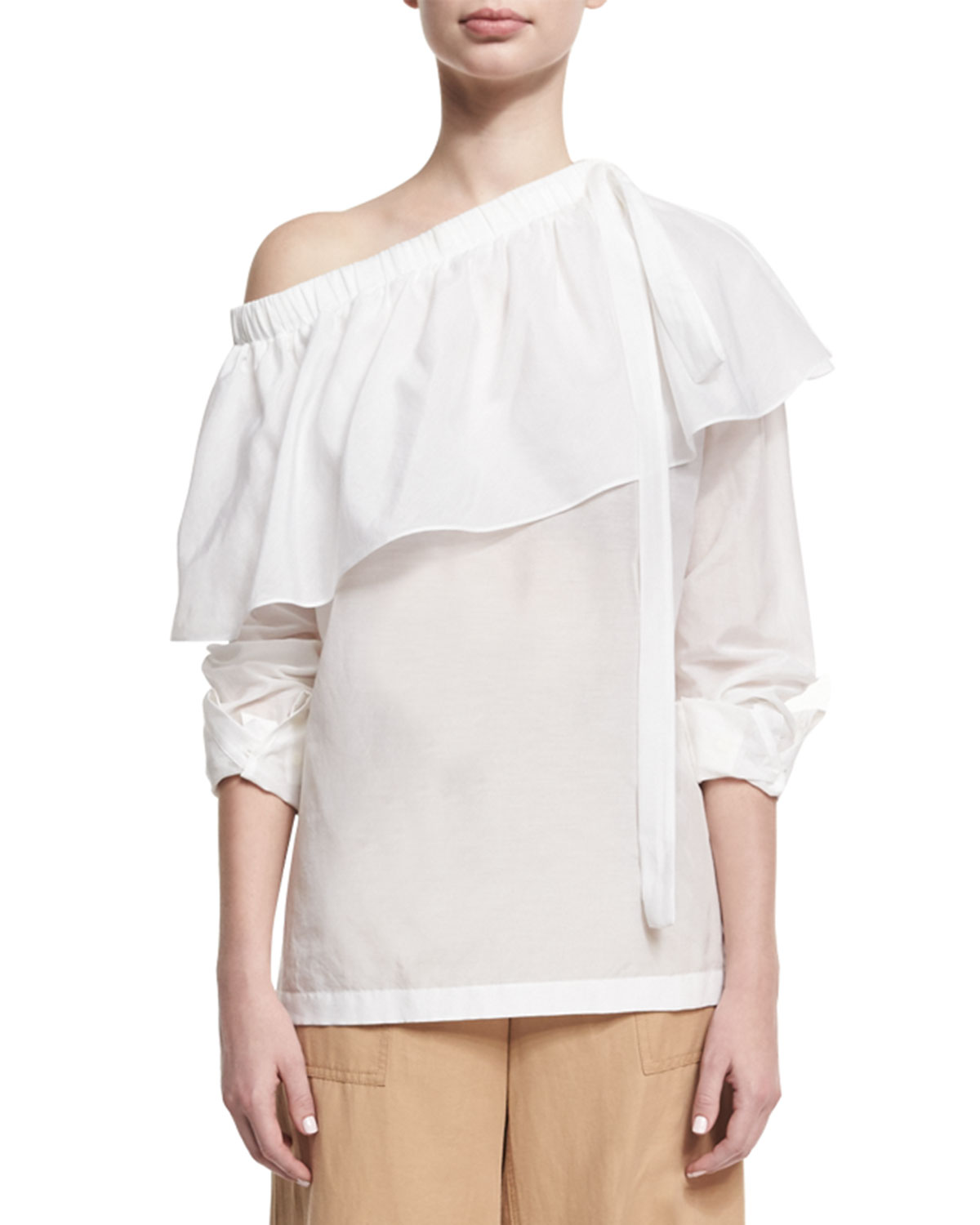 Robert Rodriguez Cotton-Silk One-Shoulder Ruffle Top, White