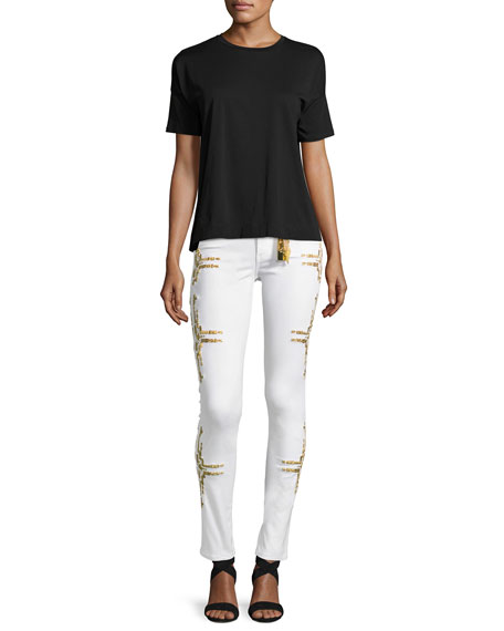 Chapa Straight-Leg Embroidered Jeans, White