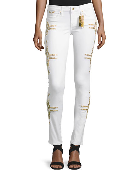 Robin's Jeans Chapa Straight-Leg Embroidered Jeans, White