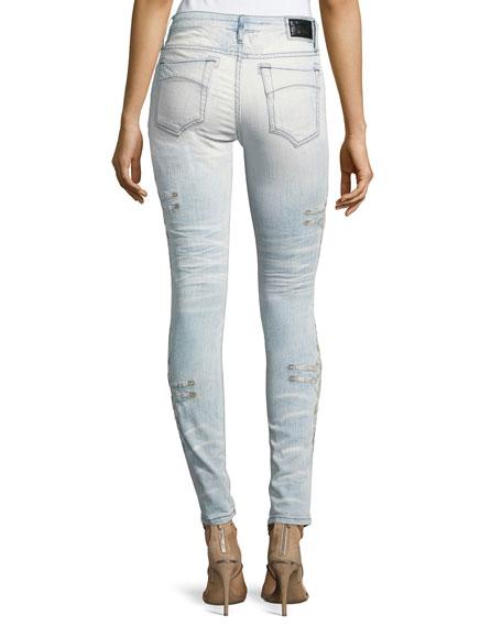 Chapa Side-Stitched Skinny Jeans, Light Blue