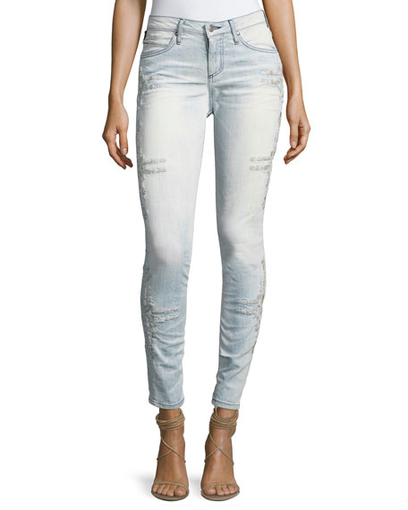 Robin's Jeans Chapa Side-Stitched Skinny Jeans, Light Blue