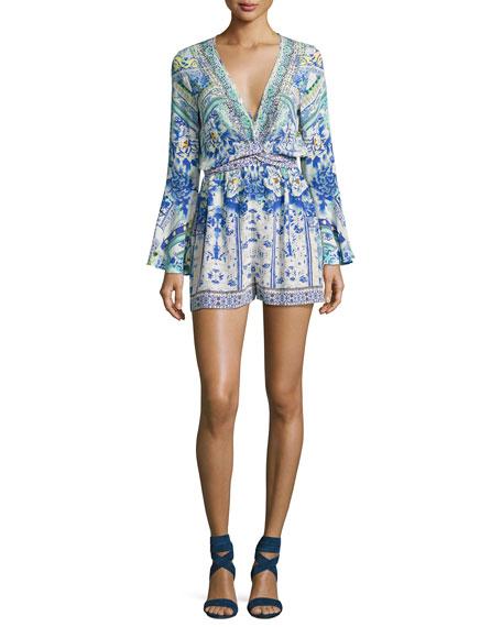 Camilla Wide Sleeve Tie-Front Playsuit, Multicolor