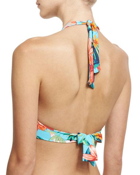 Tropical-Print Halter Swim Top, Blue Multicolor