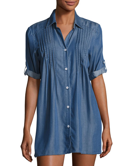 Cotton Chambray Pintuck Tunic Coverup, Blue