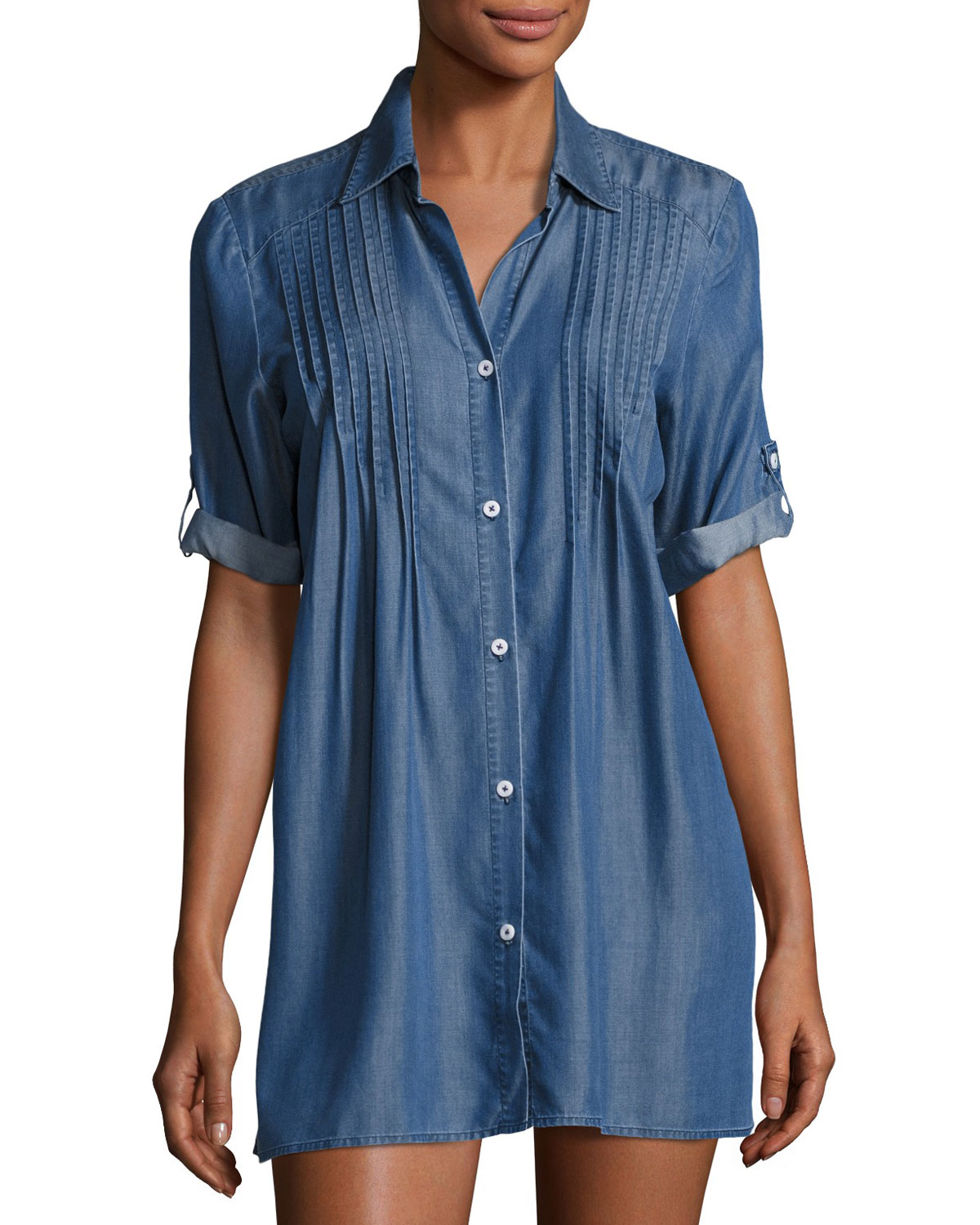 a0cafc3ebd2bd Tommy Bahama Cotton Chambray Pintuck Tunic Coverup