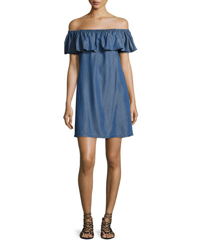 Cotton Chambray Off-the-Shoulder Coverup Dress, Blue