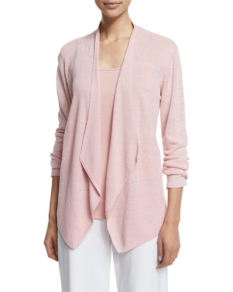 Eileen Fisher Organic Linen Angled Cardigan, Scoop-Neck Long