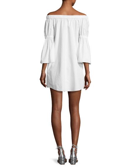 Satin Poplin Off-the-Shoulder Dress, White