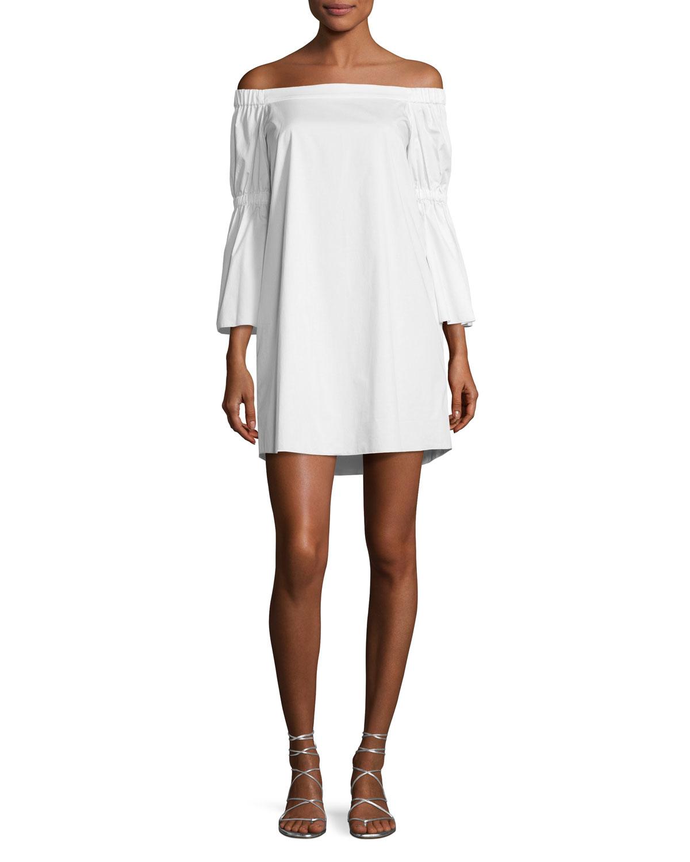 89848fbe47f22 Tibi Satin Poplin Off-the-Shoulder Dress