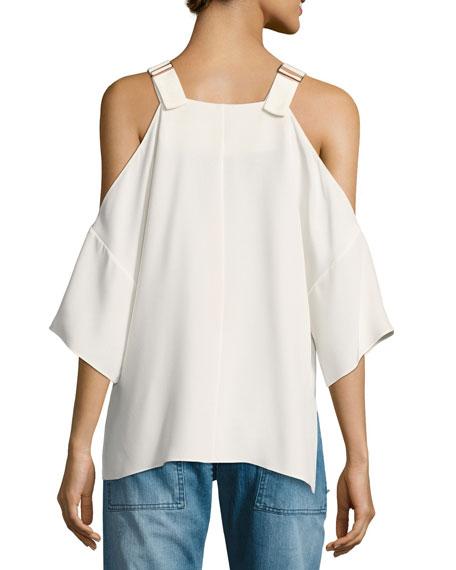 Silk Cold-Shoulder V-Neck Top, White