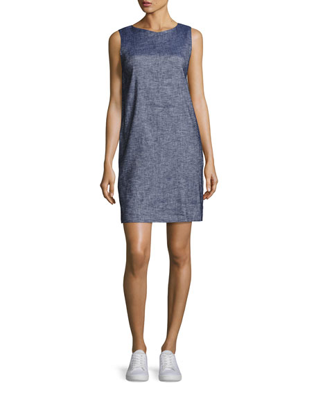Theory Narlica Relaxed Sleeveless Chambray Shift Dress, Blue