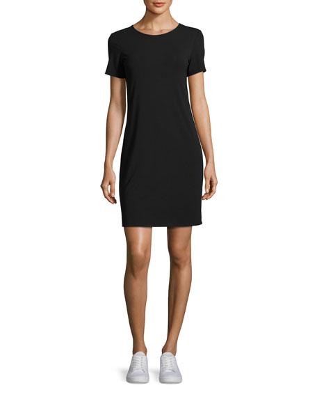 Luchia Twist-Back Rubric Jersey T-Shirt Dress, Black