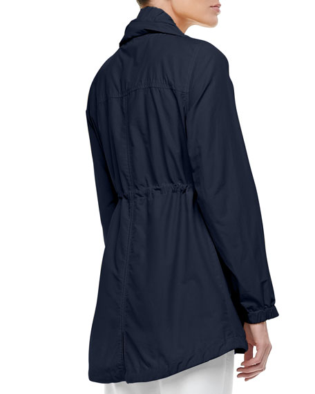 High-Collar Weather-Resistant Utility Jacket, Petite