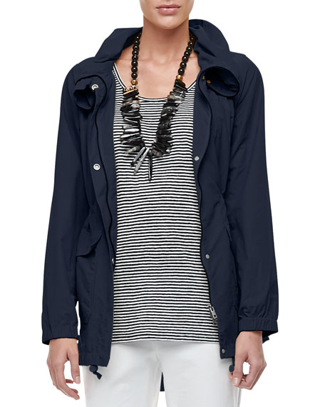 Eileen Fisher High-Collar Weather-Resistant Utility Jacket, Petite