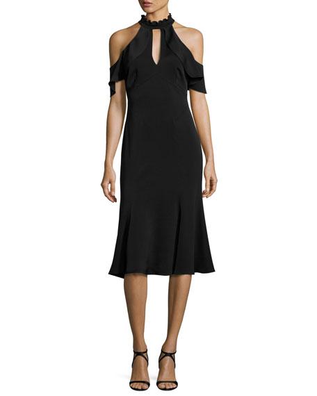 Shoshanna Sausalito Cold-Shoulder Crepe Fit-and-Flare Dress, Black