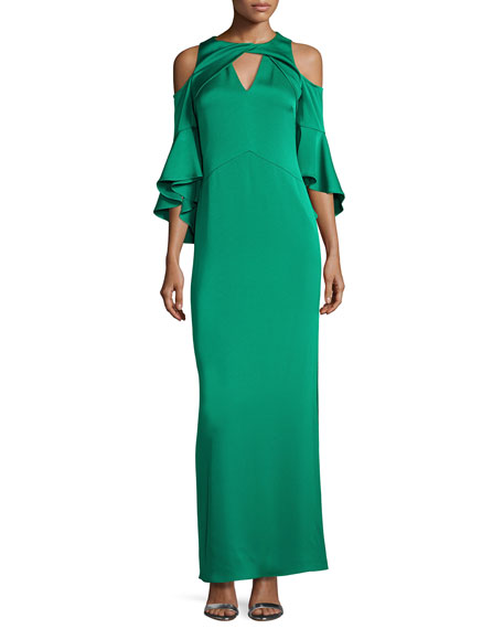 Shoshanna Varennes Cold-Shoulder Satin Gown, Jade
