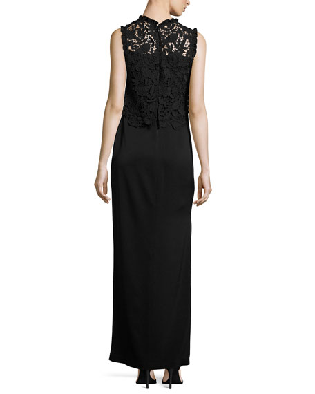 Minerva Sleeveless Lace Popover Column Gown, Black