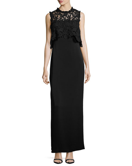 Shoshanna Minerva Sleeveless Lace Popover Column Gown, Black
