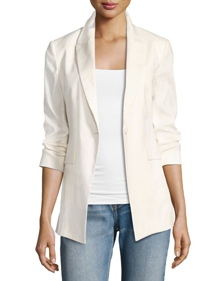 Theory Etiennette Elongated Stretch Linen Blazer, White