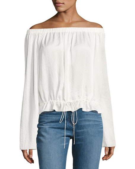 Theory Odettah Off-the-Shoulder Crepe Top, White