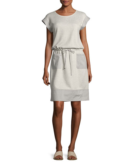 Scoop-Neck Drawstring-Waist Knit Dress, Pebble Melange