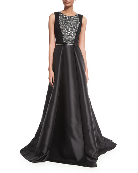 Carmen Marc Valvo Sleeveless Beaded Combo Gown, Black