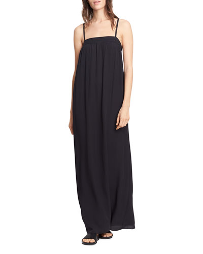 Embroidered Silk Dress, Black