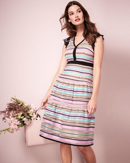 Magic Potion Sleeveless Striped Tulle Dress, Multicolor