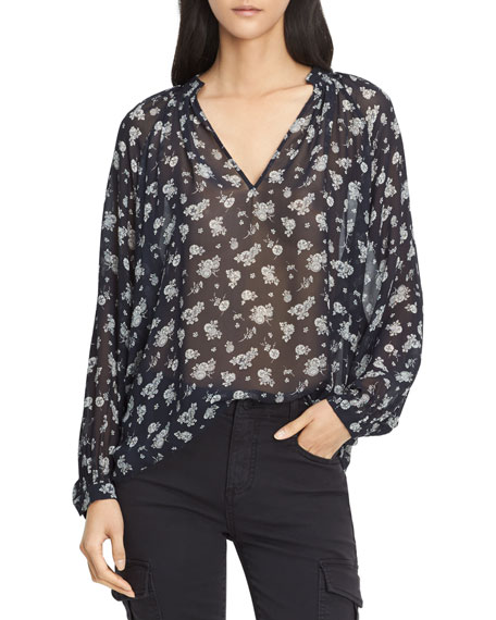 Vince Calico Floral Shirred Neck Blouse, Coastal Blue