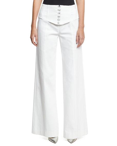 Nanette Lepore Hook Up Wide-Leg Pants, White