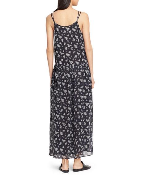 Calico Floral Shirred Waist Dress, Coastal Blue