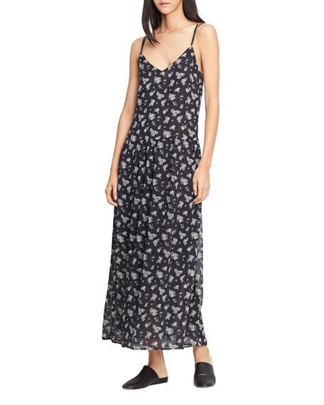 Vince Calico Floral Shirred Waist Dress, Coastal Blue
