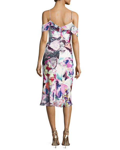 Lola Cold-Shoulder Abstract Sheath Dress, Butterfly Garden
